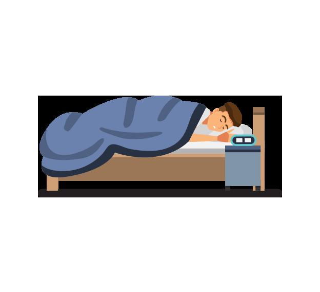 就寝男性の絵